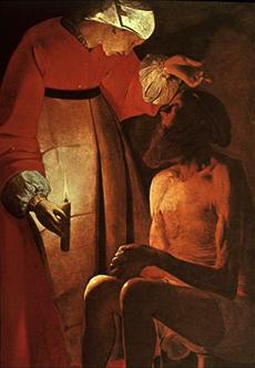 Georges de la Tour, Job et sa femme Epinal, Musée départemental des Vosges, 145x97 cm.