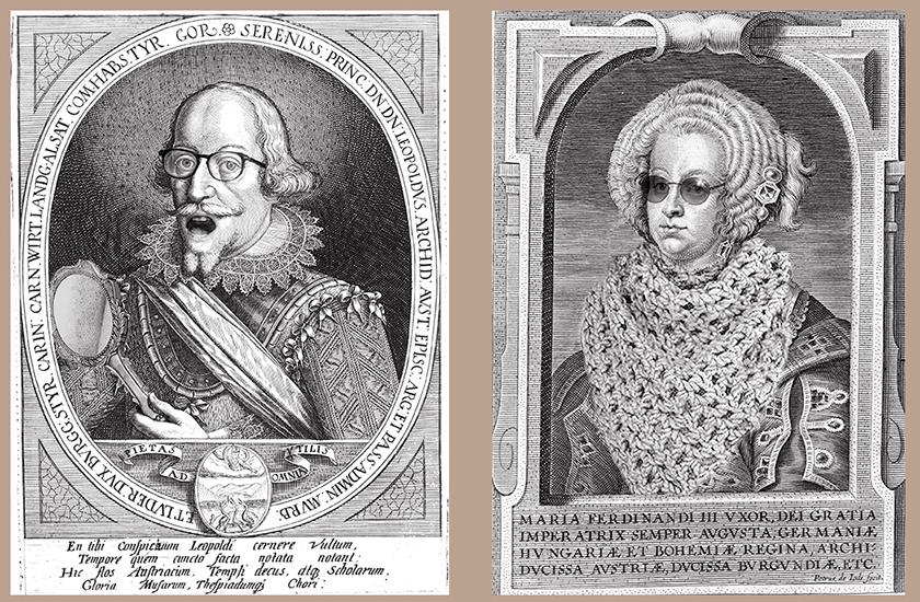 """""""Fake news en dentelles"""" (4) Léopold au miroir - (32) Maria Ferdinand à l'écharpe - D'après gravures de Peter de Joode, 13 x 17,5 cm, année 2020"""